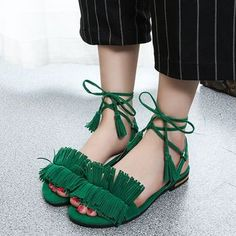 Fringed Lace-Up Flat Sandals