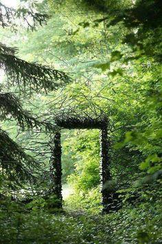 land art by Cornelia Konrads fairy portal nature land art for a magical world The Secret Garden, Secret Gardens, Land Art, Garden Gates, Garden Art, Forest Garden, Garden Entrance, Forest Path, Garden Painting