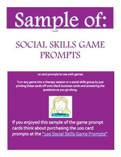 Free Sample of Social Skills Game Prompts - Feel free to try out the sample of 20 game prompt questions and if you enjoy the ease of not having to create them yourself consider buying the 100 card edition.