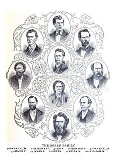 """The Breen Family. At the time of the expedition Patrick and Margaret """"Peggy"""" had their seven children with them: John Edward Patrick Jr. Simon Peter James and Isabella They all survived. Donner Party, California Mountains, Sierra Nevada, American History, James 5, The Past, Survival, Genealogy, Jr"""