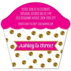 Glitter Dots Cupcake Invitation