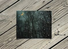 "30% OFF Holiday Sale Dark Teal Blue ""Banana Moon"" Whimsical Wall Decor Night Sky photography print by ara133photography"