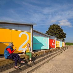 New beach huts at Southend on Sea by Pedder and Scampton Architects - love the bold use of color and the large scale numbers.