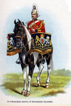 British; 7th Princess Royal's Dragoon Guards, Kettledrummer c.1912 from Bands of the British Army by W.J. Gordon and illustrated by F. Stansell