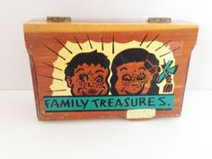 Family Treasures Boy Girl Hinged Wooden Jewelry Trinket Box Kern City California