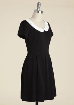 Record Time A-Line Dress in Black - Black, Solid, Peter Pan Collar, Casual, Vintage Inspired, A-line, Short Sleeves, Exposed zipper, 60s, Variation, Best Seller, 90s, Good, 4th of July Sale, Top Rated, Knit, Gals, Halloween, Fall, Winter, Work, Short, Best Seller, Scholastic/Collegiate, Minimal, Darling, Spring, Summer, Mod, LBD, White, Pleats, Collared