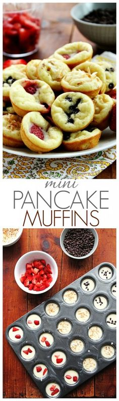 Mini Pancake Muffins - soft and fluffy mini muffins that taste just like pancakes! So go ahead, bake the pancake batter with your favorite toppings for this fun on-the-go breakfast! white christmas,breakfast and brunch Pancake Muffins, Mini Pancakes, Mini Muffins, Happy Pancakes, Waffles, Baked Pancakes, Pancakes Easy, What's For Breakfast, Breakfast Dishes