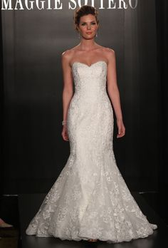 """Maggie Sottero - Spring 2013. """"Lavina"""" strapless organza and lace mermaid wedding dress with a sweetheart neckline, Maggie Sottero"""