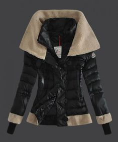 2013 New! Moncler Women Down Jacket Double Stand Collar Black