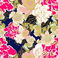 B - not fave  Jungle Passion floral navy fabric by joanmclemore on Spoonflower - custom fabric