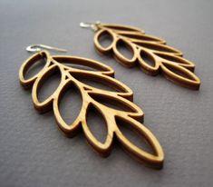 Laser Cut Wood Leaf Earrings / Boho Earrings / Modern Jewelry by ShopJoyo, $45.00 #lasercut