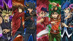 Yugioh main character male lead! Left to right: Yugi, Yuki, Yuusei, Yuma, Yuya, and Yusaku All seasons left to right: Yugioh, Yugioh Duel Monsters, Yugioh 5D'S, Yugioh Zexal, Yugioh Arc V (my most favorite season), Yugioh Vrains (the new season
