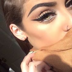Dramatic winged eyeliner