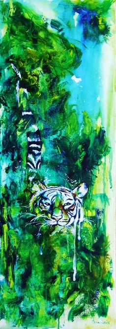ARTFINDER: Hidden tiger by Anna Sidi-Yacoub - Acrylic on deep edge canvas. Landscape representing hidden tiger in water. Ready to hang.