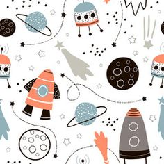Space Illustration, Pattern Illustration, Surface Pattern Design, Pattern Art, Kids Patterns, Print Patterns, Kids Vector, Kids Poster, Kids Prints