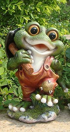 Funny Garden Gnomes, Garden Frogs, Funny Frogs, Cute Frogs, Frog Statues, Garden Statues, Frog Pictures, Frog Art, Frog And Toad