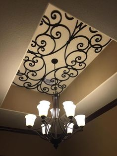 Home Interior Designs - Faux Iron ceiling design insert. Home Ceiling, Ceiling Decor, Ceiling Design, Wrought Iron Wall Decor, Iron Furniture, Ceiling Medallions, Window Coverings, Home Interior Design, Home Remodeling