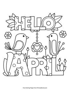 Free printable Spring Coloring Pages eBook for use in your classroom or home from PrimaryGames. Print and color this Hello April coloring page.