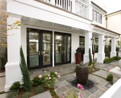 decks/patios - patio water feature French doors  Beautiful patio design with French doors and water feature.