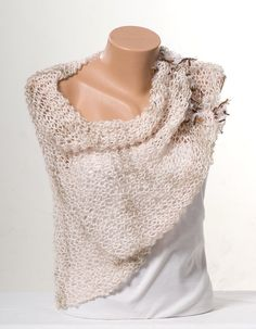 Beige Knit shawl wrap.  Poncho. Christmas gift. by scarfstore2012
