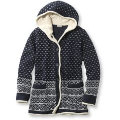 L.L.Bean Lined Sherpa-Trimmed Hoodie, Fair Isle ($104) ❤ liked on Polyvore featuring tops, hoodies, sweaters, lined hoodie, jersey hoodie, hoodie top, lined hooded sweatshirt and hooded pullover