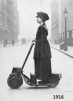 STRANGE OLDE VEHCILES - 1916 MOTOR SCOOTER DRIVEN BY FORMAL LADY ON A TRIP!