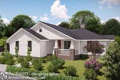 Modern Prairie Pleaser - 25402TF thumb - 08 Cheap Houses To Build, Clayton Homes, Facade House, House Facades, Contemporary House Plans, Modern Farmhouse Plans, Bedroom Layouts, Modular Homes, Square Feet