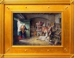 Click Image to Enlarge SOLD 'The Holy Stable' Signed Oil on Canvas x Fortunino Matania Italian The son of the artist Eduardo Matania, Fortunino Matania studied in his father's studio in Naples. A child prodigy, exhibiting a painting of Naples at the Religious Pictures, War Image, Nativity, 19th Century, Oil On Canvas, Religion, Gallery, Drawings, Illustration