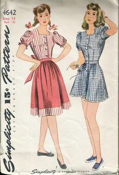 """Vintage 1943 WWII Simplicity 4642 Women's Playsuit & Skirt Sewing Pattern Size 14 Bust 32"""" UNUSED by Recycledelic1 on Etsy"""