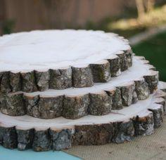 cake stand, tree stump.