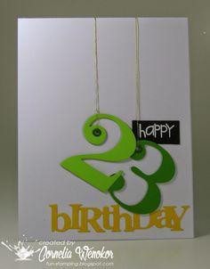 handmade card from Stempel Spass: Eyelet Birthday Card . big number hanging on golden threads . Stampin' Up! Handmade Birthday Cards, Happy Birthday Cards, Cricut Birthday Cards, Daughter Birthday Cards, Creative Birthday Cards, Simple Birthday Cards, Birthday Wishes, Tarjetas Diy, Karten Diy