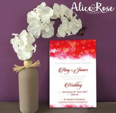 Red Hearts Wedding Invitation with matching items available by AliceRoseStationery on Etsy https://www.etsy.com/uk/listing/528810479/red-hearts-wedding-invitation-with