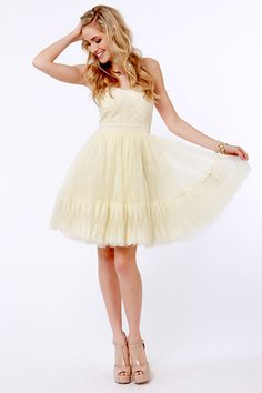 LOVE this dress! Fancy Cream Dress - Strapless Dress - Tulle Dress - $81.00