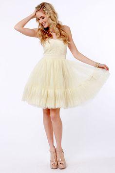LOVE this dress! Fancy Cream Dress - Strapless Dress - Tulle Dress - $81.00