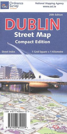 A double-sided map of Dublin complete with a separate, full 80 page street index and other useful information. Dublin Street, Grid, Compact, Ireland, Map, Books, Libros, Location Map, Book