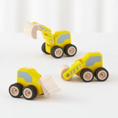 Click together the individual parts and your vehicles are ready for construction projects big and small. Details, details Set of 3 wooden construction vehicles Easy to assemble click systemAge range 18 mos. and up.