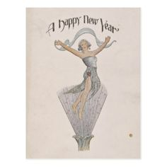 Vintage Happy New Year Postcard - New Year's Eve happy new year designs party celebration Saint Sylvester's Day