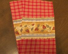 Red Plaid Kitchen towel - Strawberry Vine  trim - (set of 2)