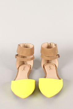 62a7fda7 Look incredibly stylish all the time with this pointy toe flat! Featuring  two tone leatherette