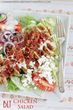 BLT Chicken Salad | Cinnamon Spice & Everything Nice - oven fried chicken, bacon, lettuce, tomatoes with feta cheese, and a peppery ranch dressing