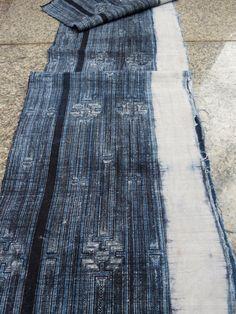 Handwoven hemp Vintage fabric Indigo Hmong HempTable by dellshop, $54.99