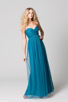 affordable bridesmaids dresses Fall 2012 WTOO by Watters bridal party teal long. Like this dress especially the colour.