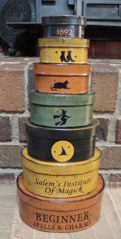 Gearing up for my favorite time of year! Look how cute these are!! Primitive Halloween Oval 7 Pc Shaker boxes by witchescauldron, $39.99