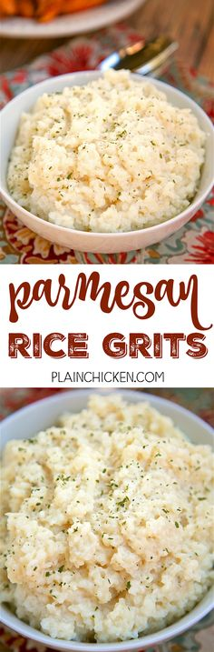"""Parmesan Rice Grits - SO easy and delicious! Rice grits, chicken broth, half and half, butter, parmesan cheese and rosemary. Dump everything in the pot, cook then stir in cheese and rosemary. SO good and creamy. My husband took one bite and said """"This is really, really good! Can we have them again tomorrow?"""""""