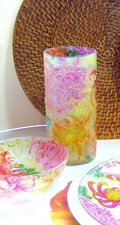 Napkin Decoupaged Glass Vase or Candle Holder - Orange, Pink and Lime Green Chrysanthemums