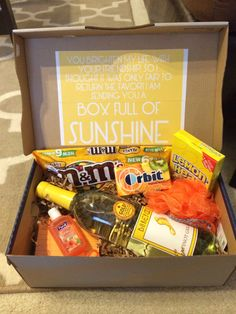 Box of Sunshine - awesome care package idea! This was sent to me at college by my friend who knew I was going through a rough time.