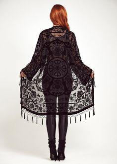 Velvet Fringe Kimono Jacket - Midnight Lace                                                                                                                                                                                 Mais
