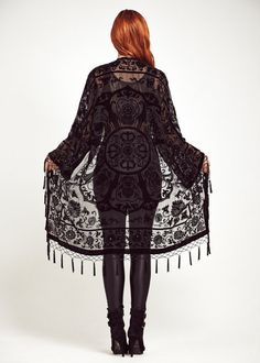 Velvet Fringe Kimono Jacket  Midnight Lace by shevamps on Etsy, £99.00