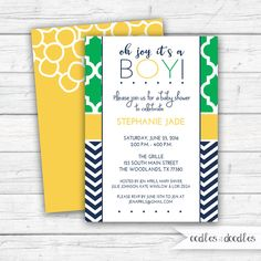 Baby Boy Shower Invitation, Printed or Printable, Navy and Green and Yellow | Oodles and Doodles | OandD.etsy.com