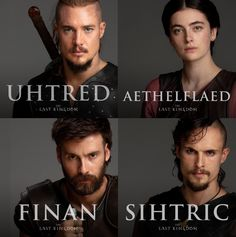 Official cast portraits for The Last Kingdom Season Alexander Deymon as Uhtred, Millie Brady as Aethelflaed, Mark Rowley as Finan and Arnas Fedaravicius as Sihtric The Last Kingdom Actors, Millie Brady, Uhtred Of Bebbanburg, Alexander Dreymon, I Kid You Not, Fantasy City, Viking Age, Picts, Season 4